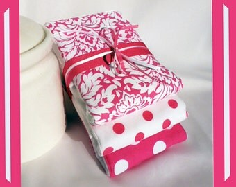 Baby Girl Shower Gift Burp Cloth Set in Pink and White ...... 3 Burpcloths of 6 ply PREMIUM Cloth Diapers