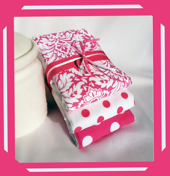 Etsy Market Burp Cloths Girl Baby Shower or New Baby Girl Pink and White Gift Set of 3 plmdezigns 6 ply PREMIUM Cloth Diapers