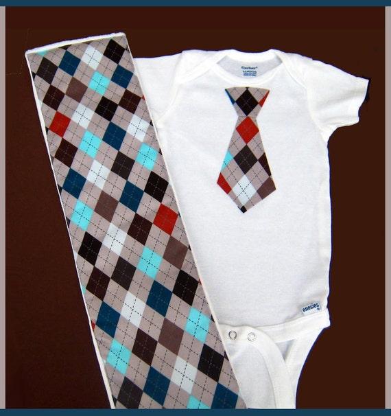 SIZE 3 - 6 Baby Boy Gift Set Tie Onesie & Matching Baby Burp Cloth and Bodysuit Set in Argyle Gray