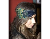 Liaison by Kat Swank, One-of-a-Kind Headband with Upcycled Vintage Elements and Peacock Feathers- Made to Order