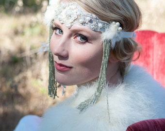 The ALANA Headdress by Kat Swank- Custom made luxe headband headdress with vintage elements. Fit for a queen. LIAISON