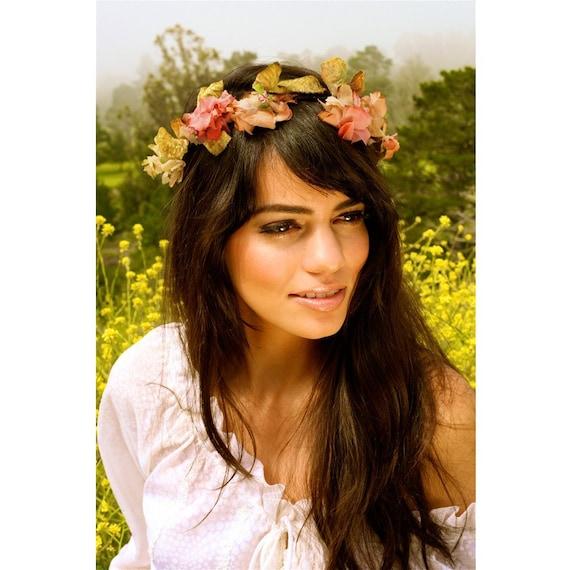 Mini Mucha Headband Wreath- All Vintage materials. Autumn Harvest- Headband or sash. Liaison Collection by Kat Swank