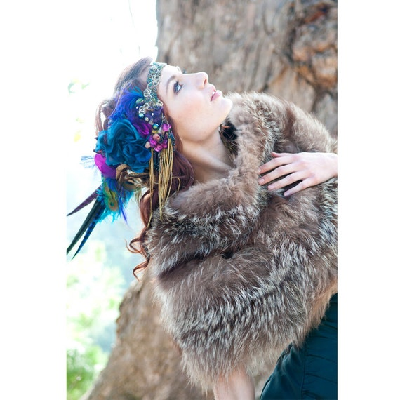 Made to Order- The Joanna Headdress by The House of Kat Swank- Vintage Materials, your colors!
