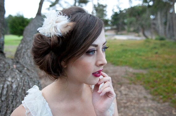 Whimsical Winter Wheat Peacock Hair Clip, Ivory & Beige Tones, by The House of Kat Swank. Veil sold separately. LIMITED EDITION.
