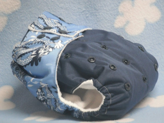 Two Toned Blue Dragon Print One Size Pocket Diaper with Bamboo Fleece Insert