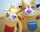 Yellow Cashmere Stuffed Animal Monster Upcycled Wool Sweater Repurposed