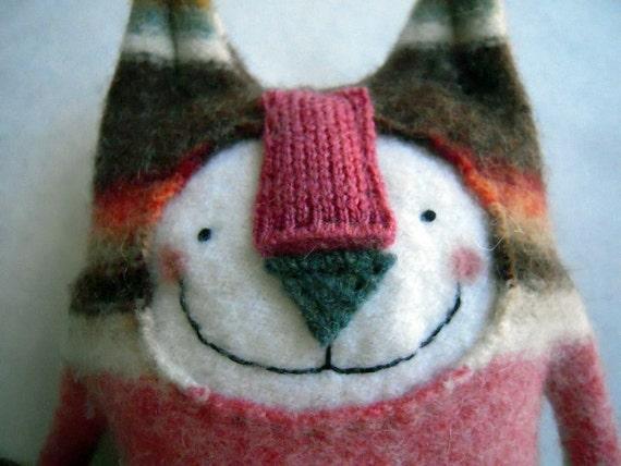 Stuffed Animal Cat Striped Upcycled Sweater Sweet Poppy Cat