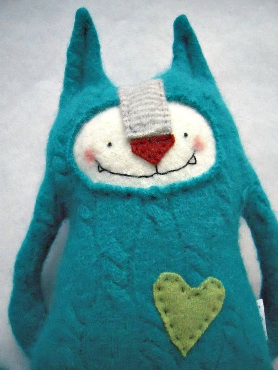Stuffed Animal Cat Upcycled Vintage Teal Wool Angora Sweater Upcycled Repurposed