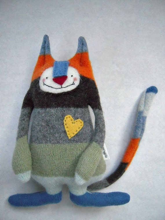 Stuffed Animal Cat Striped Wool Sweater Upcycled Repurposed