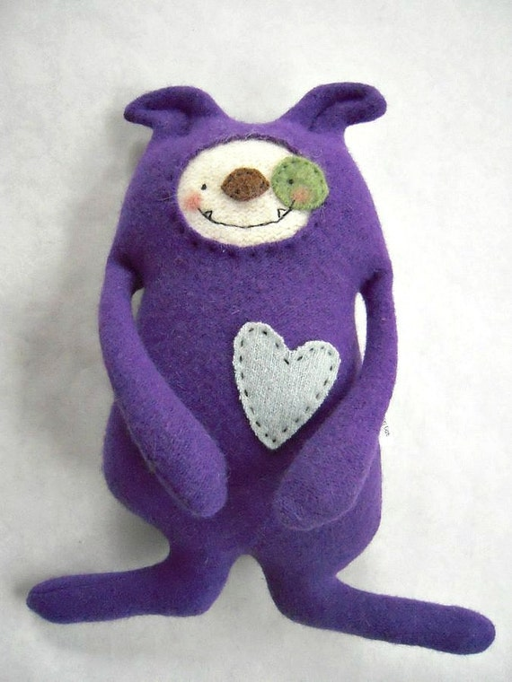 Dog Stuffed Animal Purple Wool Sweater Upcycled Recycled