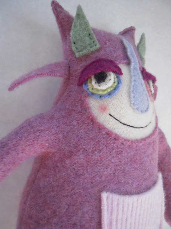Cute Stuffed Animal Monster Pink Upcycled Wool Sweater Repurposed