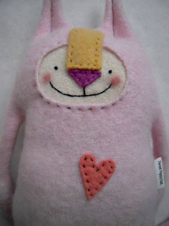Pink Cashmere Stuffed Animal Cat Upcycled Sweater Repurposed