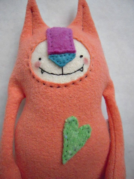 Cat Stuffed Animal Wool Coral Upcycled Repurposed Sweater