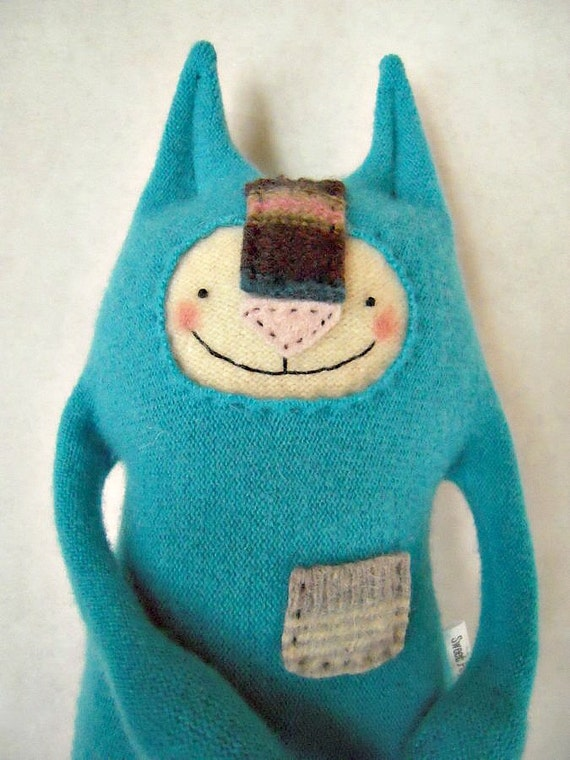 Cashmere Stuffed Animal Cat Upcycled Vintage Teal Sweater Upcycled Repurposed