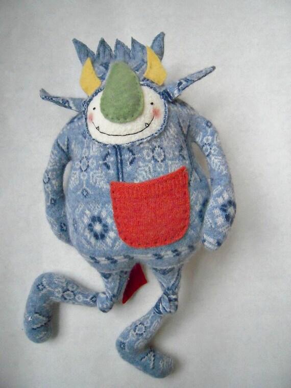 Stuffed Animal Monster Wool Angora Blue Upcycled Sweater