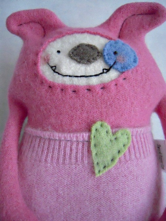 Dog Stuffed Animal  Pink Cashmere Wool Upcycled Repurposed Sweater