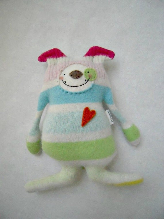 Stuffed Animal Dog Cashmere Rainbow Striped Upcycled Repurposed Sweater
