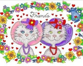 Friendship, Thinking of You Greeting Card (F103RH) Red Hat Society Tea Time Greeting