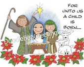 Christmas Nativity Greeting Card (CH107) For Unto Us
