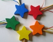 5 Wooden Star Wands  Party Pack Birthday Favors Gifts