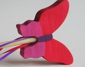 Red and Pink Wooden Butterfly Wand