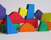 Multi-colored Natural Wooden Blocks- Eco friendly Toys- Imagination Kids