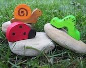 Wooden Bug Trio Waldorf Toy Natural snail ladybug inchworm
