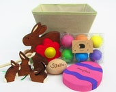 Deluxe Easter Set- Natural Wooden Waldorf Toys- eco friendly bunny Easter eggs- personalized gift basket