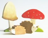 Wooden Hedgehogs and Toadstool Toys Waldorf Toy Nature Table Autumn Forest animal Heirloom