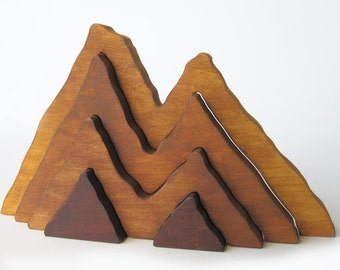 Wood Toy Large Wooden Mountain Range Stacker Toy  Waldorf- Nature Table