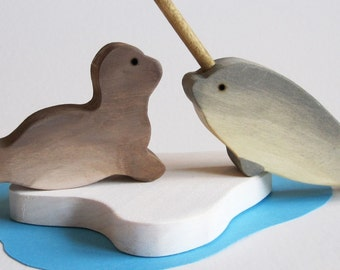 Narwhal and Seal Play Set  Waldorf Wooden Toy Polar Pals