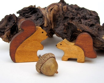Wooden Squirrel Toy Waldorf  Autumn Nature Table- Forest animal