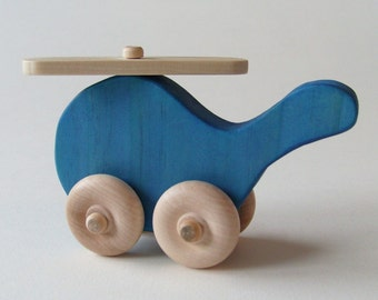 Wooden Toy helicopter Blue Waldorf heirloom