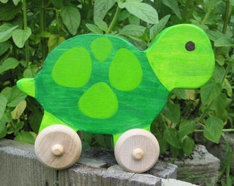 READY TO SHIP - Wooden Turtle Push Toy