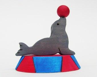 Circus Seal Wooden Toy Waldorf ball