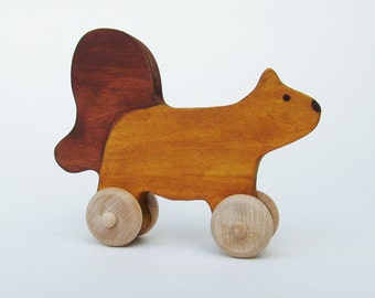 Wood toy Squirrel Push Toy- Waldorf- Eco-friendly
