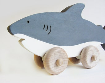 Shark Week Wooden Push Toy Eco Friendly Waldorf