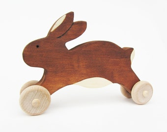 Wooden Easter Bunny Toy  Easter Rabbit gift- eco friendly natural kids