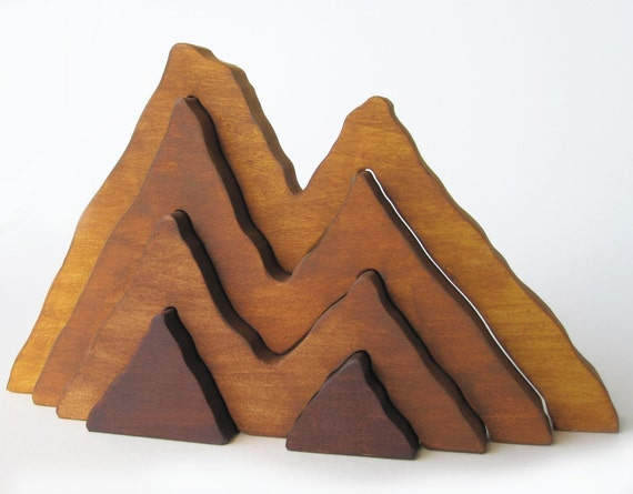 Wood Toy- Large Wooden Mountain Range Stacker Toy- Waldorf- Nature Table