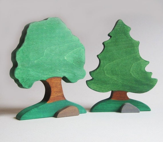 Two Wooden Trees Nature Table- Eco-friendly- Waldorf Toy