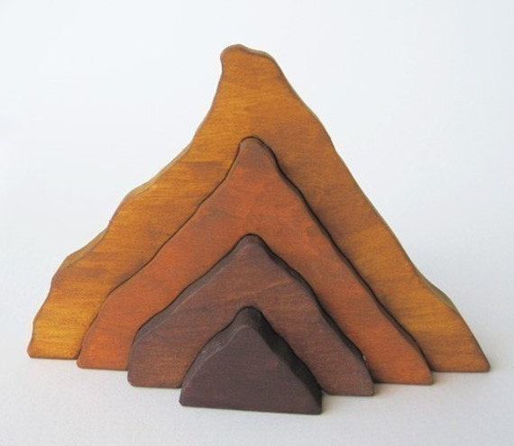 Wooden Moutain Stacker - Waldorf toy- nature table