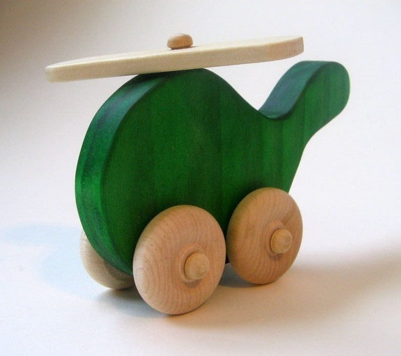 Wooden Toy  Helicopter- Green- Waldorf- Imagination Kids
