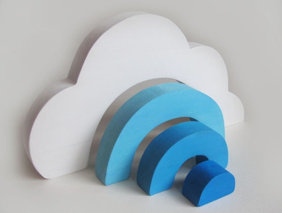 Large Wooden Cloud Stacker Waldorf nature table toy