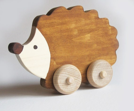 Wooden toy Hedgehog Push Toy Waldorf- Eco-friendly