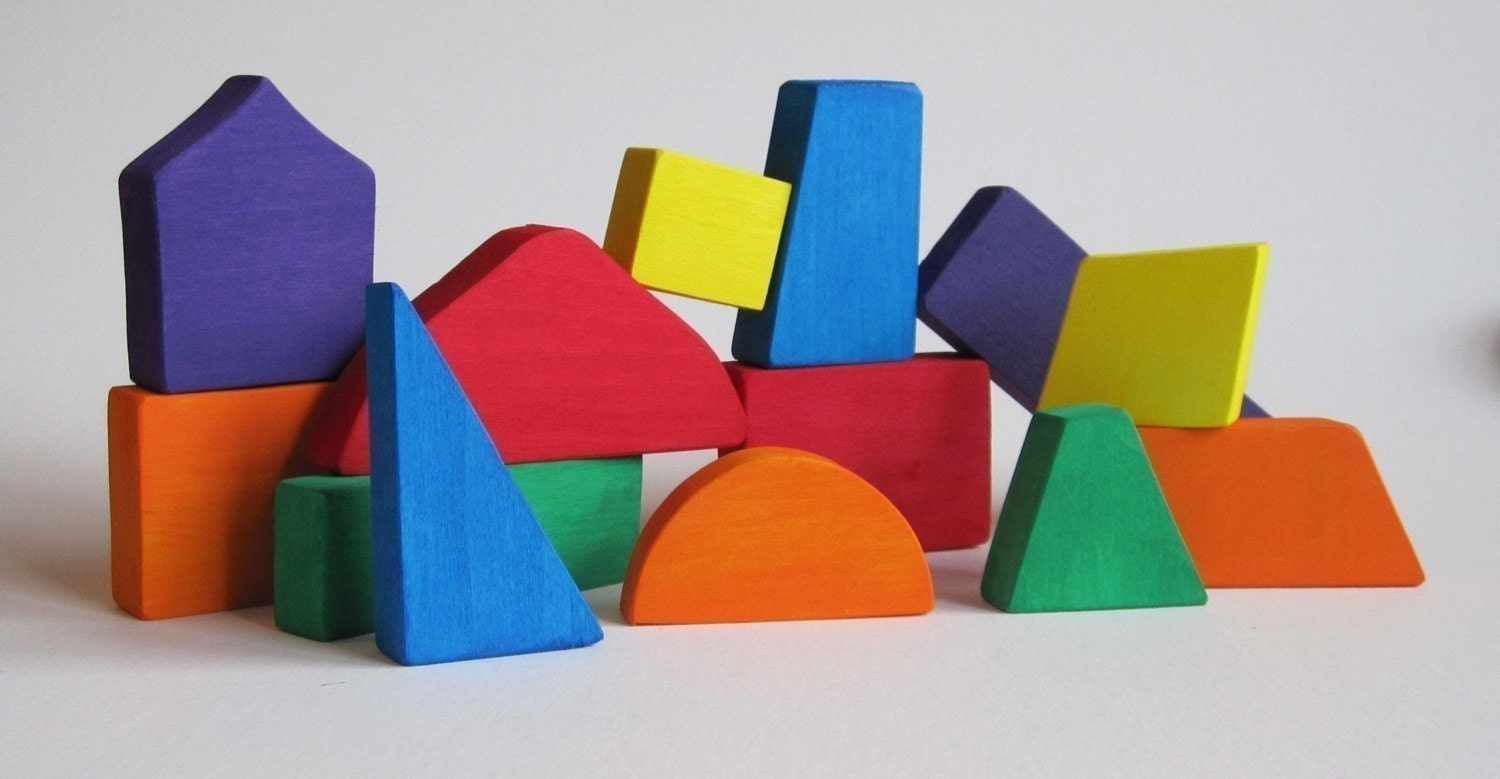 Multi colored natural wooden blocks eco friendly toys