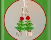 Dainty, Adorable Swaovski Crystal Christmas Tree Earrings (Pierced Ears)