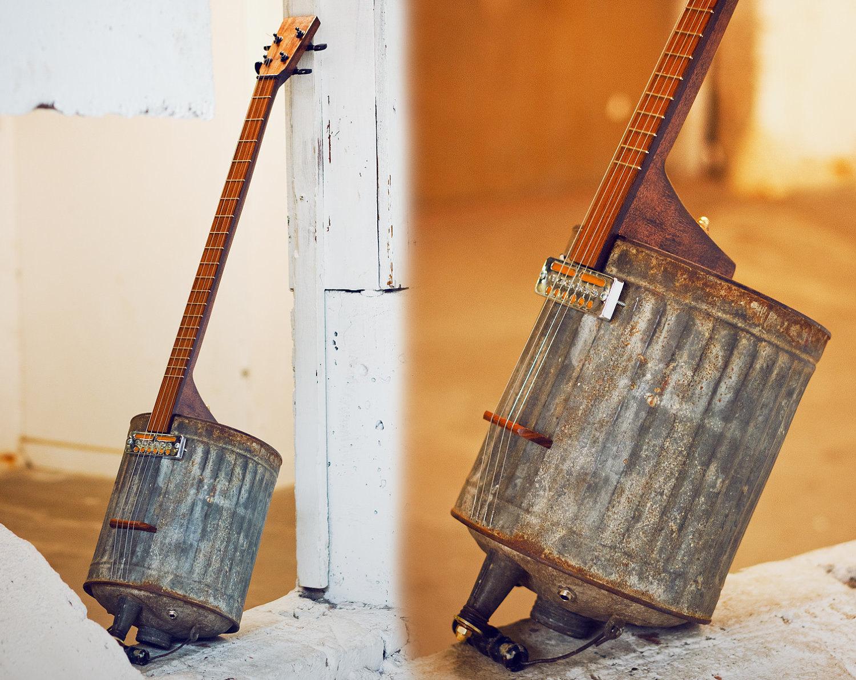 electric guitar vintage gas can. Black Bedroom Furniture Sets. Home Design Ideas
