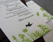 Hovering Hummingbirds Letterpress Wedding Invitation Suite Sample on Premium Cotton Cardstock