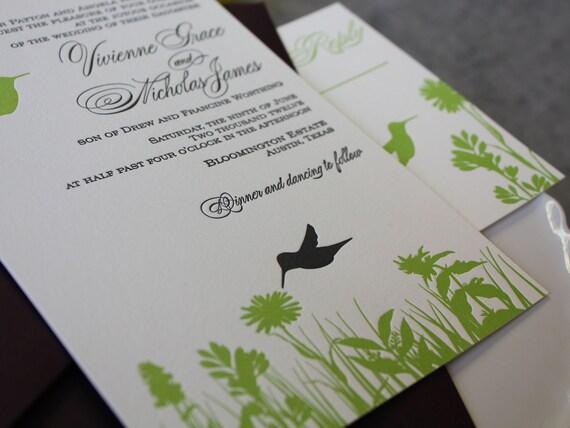Hummingbird Wedding Invitations: Hovering Hummingbirds Letterpress Wedding Invitation Suite