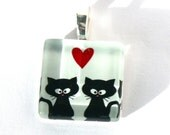 Kittens Red Heart Pendant-Jewelry-Gift Box-Two Black Kittens-Unique Pendant- Handmade In USA-Love Pendant